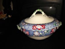 RARE ANTIQUE HANDPAINTED COPELAND TUREEN & LID BLUE BLACK FLORAL TWIG 7038